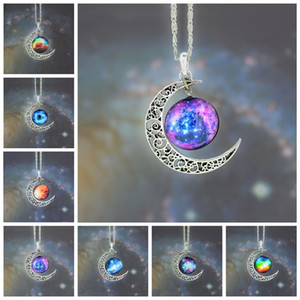 Wholesale Universe Starry Sky moon Jewelry Stainless Steel Silver Color NecklaceTime Gem Pendant Necklace Women Men Gift Crystal Necklaces