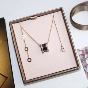 new classic small waist necklace titanium steel inlaid gem cz ceramic women necklace fashion jewelry necklace with box free shipping
