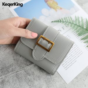Wholesale Women New Luxury Short Wallet Retro Solid Color Metal Buckle Wallet Brand Design Soft Girl Hand Dompet Wanita
