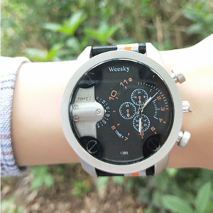 Wholesale Minimalist trend black big dial men s watch four styles nylon band sports camouflage boy s quartz mens watches