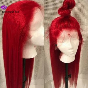 Wholesale New Blue Red Pink Purple Yellow Colorful Brazilian Straight lace front wig Pre Plucked Lace Frontal synthetic hair wig for women