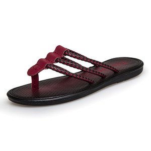 2019 New Beach Slippers Summer Male Wine Red Brown Braided Men Flip Flops Wooden Slippers Men Leather Walking Beach Shoes