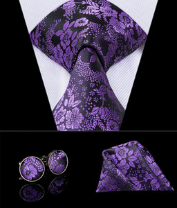 Hi-Tie Famous Brand Purple Necktie Tie For Man Silk Fabric Jacquard Woven Made In China Ties Hanky Cufflinks Set SN-3022