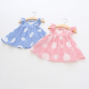 Wholesale stripped shirts for sale - Group buy kids designer clothes girls shirt summer Girls flying Sleeveless Stripped Polka Dots Shirt baby kids round collar cotton shirt colors