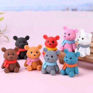 Wholesale Scarf Wool Bear Doll Ornament Cartoon Pendant Miniature Figurines Accessory Fairy Garden Decoration Moss Micro Landscape Material DIY LX4984
