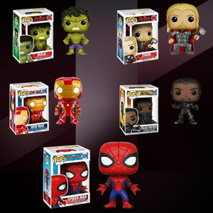 Wholesale Funko pop Marvel The Avengers 3 America Black Panther Ironman Spiderman Hulk Thor Bobble head Action Figure 10cm Kids toy gift Decoration