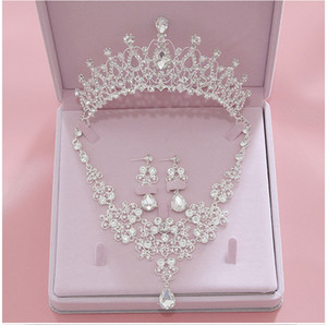 свадебные венчальные короны оптовых-Bling Bling Set Crowns Necklace Earrings Alloy Crystal Sequined Bridal Jewelry Accessories Wedding Tiaras Headpieces Hair