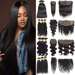 Brazilian Virgin Hair Straight Bundles with Closures 8A Unprocessed Body Wave Human Hair Bundles with Frontal Kinky Water Deep Wave Weaves