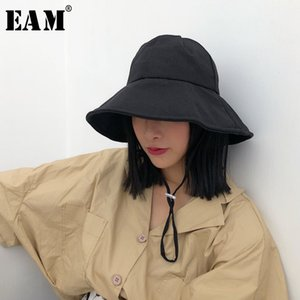 Wholesale EAM New Summer Round Dome Bandage Foldable Solid Color Black Temperament Fishermen Hat Women Fashion Tide JG515