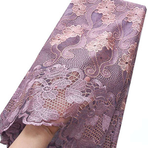 French Tulle Fabric Lace Material Dresses Nigeria Lace Fabric Embroidery Lilac Magenta African Lace Fabric For Women