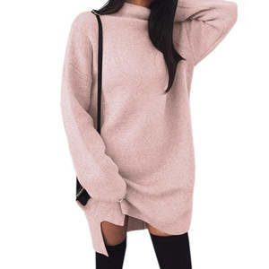 Women Casual Long Sleeve Autumn Femme Turtlneck casual Dresses Thin Solid Split Winter Dress Loose Mini Dress Robe Femme M0001