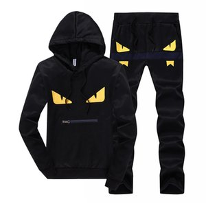 Wholesale New Fashion Mens Designer Tracksuits Men s Hooded Sweater Yellow Eyes Casual Pullover Two Piece Hot Sale Black Size M XL