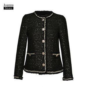 Wholesale Luxury jacket women vintage elegant office ladies coat tassel shining classic jackets french outwear spring autumn new clothes