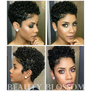 Wholesale short haircut women resale online - Short Wigs Brazilian Virgin Hair Kinky Curly Hair Lace Front Wigs Human Hair Wigs Short Haircuts For Black Women Lace Frontal Wig