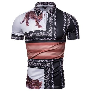 New men's court short-sleeved leopard print for summer 2019