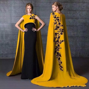 Wholesale Luxury Muslim Saudi Arabic Evening Dresses 2020 Yellow Formal Dresses Evening Wear With Cape Satin Applique Women Prom Dress Long