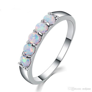 925 Sterling Silver Filled Best Wedding Bands Jewelry Unique Round White Fire Opal Rings For Women Lover Gift