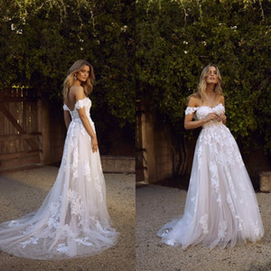 Wholesale summer bohemian boho wedding gown resale online - New Country Boho A Line Wedding Dresses Sexy Backless A Line Off Shoulder Appliqued Tulle Long Summer Bridal Gowns Bohemian BM1510
