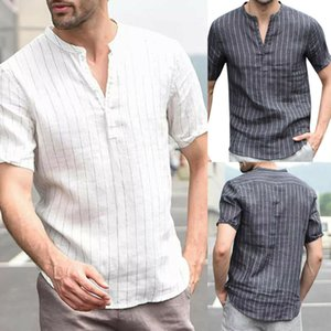 2094082a Men's Linen T-shirt Polo Casual Blouse Cotton Loose Tops Short Sleeve Tee Shirt  on