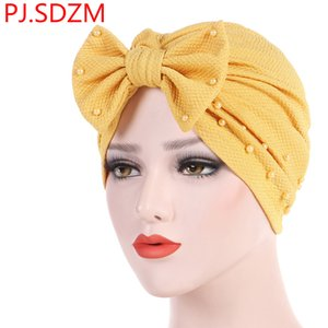Wholesale 2019 Europe Women Detachable Bow Nails Pearl Muslim Turban Solid Headscarf Indian Hat Hair Accessories Female Headband Fashion