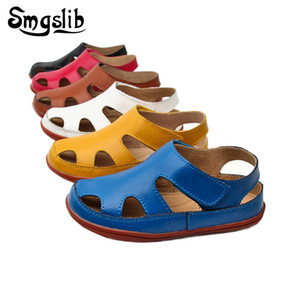 Wholesale Size25-37 Genuine Leather Casual Kids Summer Toddler Boys Beach Shoes Flat Little Girls Gladiator Sandals Q190601