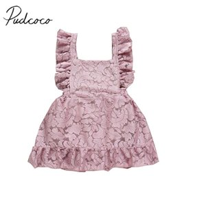 Wholesale 2019 Baby Summer Clothing Princess Baby Girl Lace Rose Dresses Sleeveless Ruffles Backless Floral Gown Princess Dress M