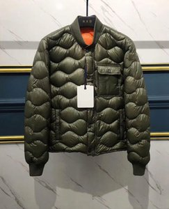 Wholesale 2019 New Items Brand M Design Army Green Wave Pattern Light Duck Coat For Men White Goose Down Padded Men Down Jacket Male Coats