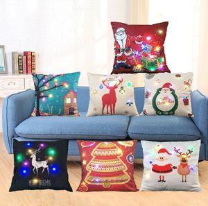 LED Light Luminous Pillow Case Led Light Christmas Pillowcase Pillow Cover Sofa Car Decor Cushion Santa Claus Reindeer VS Sequins DW90