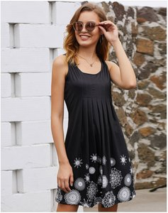 Wholesale Black Gray Printed Women Casual Dresses Sleeveless Short Soft Plus Size Summer Dress Fast Shipping FZ