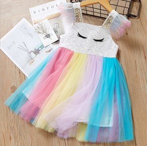 Wholesale 2019 Summer Girls Sweet Rainbow Tulle Suspender Dress Childrens Korean Style Eyelash Embroidered Sequined Sleeveless Dress
