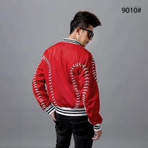 Wholesale Luxury mens red with cross cord leisure event stage performance short fashion jacket studio ASIA SIZE
