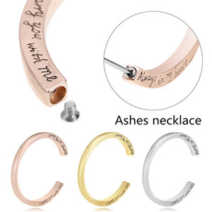 Wholesale 2019 Memorial Urn Bangle Bracelet Vintage Engraved Alloy Bangle Cremation Ash Jewelry For Friend Couple Memen Sainio Silver Gold