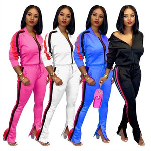 Wholesale sexy Womens Two Piece Tracksuits Fashion Sexy Jogging Sports long sleeves pants Suits Sportswear clubwear Women clothing