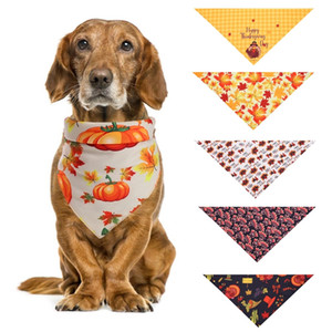 Thanksgiving Day Pet Bandana Scarf For Cats Dogs Triangle Neckerchief Headdress Bow Tie Pumpkin Turkey Printed Dog Apparel Accessories Decor