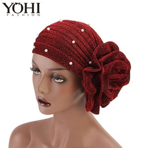 Wholesale 2018 New luxurious Women Muslim beaded glitter Turban India Cap Big Flower Headband Wedding Party Hair Accessories