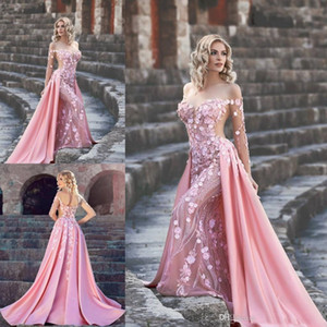 Wholesale Evening Dresses Pink Mermaid 3D Flowers Dercation Lace Appliques Detachable Train Bridal Gowns Illusion Long Sleeve High Quality Dresses