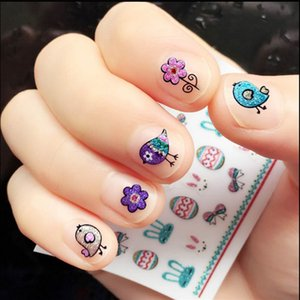 Wholesale 100pcs Lovely Chick Rabbit Easter Eggs Nail Sticker D Nail Art Stickers Tips for Nail Art Decoration for Kids