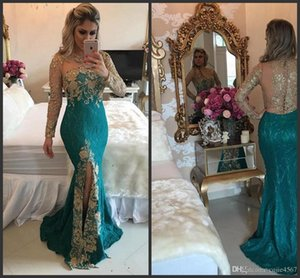 Wholesale 2019 Illusion Long Sleeve Gold Lace Applique Sexy Transparent Back Side Split Party Wear Formal Evening Dress Vintage Lace Mermaid Prom Gown