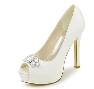Wholesale 2019 Only pair Creativesugar platform satin evening dress shoes with crystal brooch open toe bridal wedding heels ivory size
