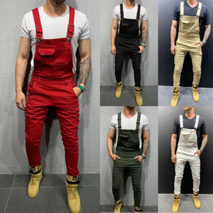 Wholesale New Pantalones Jeans Para Hombre Bib Pants Hip Hop Calsas Jeans Men Slim Fit Denim Jumpsuit Male Solid Color Peto Vaquero Hombre