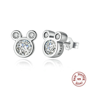 Wholesale Mother day SALE Sterling Silver Dazzling Pandora Miky Mouse Stud Earrings for Women Girls Sterling Silver Jewelry
