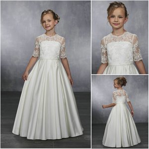 2019 Wholesale Charming Lace Bodice Flower Girl Gowns Illusion Jewel Neck Half Sleeve Buttons Back Satin Girls Party Gowns MB9039 on Sale
