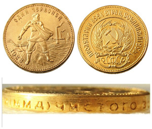Wholesale russia coins copies resale online - 1923 Soviet Russian Chervonetz Roubles CCCP USSR Lettered Edge Gold Plated Russia Coins COPY