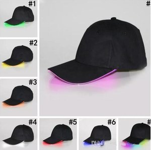 LED Baseball Caps Cotton Black White Shining LED Light Ball Caps Glow In Dark Adjustable Snapback Hats Luminous Party Hats