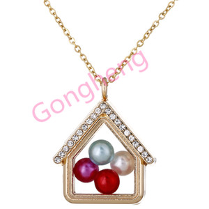 Wholesale home link for sale - Group buy G1449 Gold Color home Can open Pearl Beads Cage With Rhinestone Magnetic Glass Floating Locket Pendants Women Charms Necklace