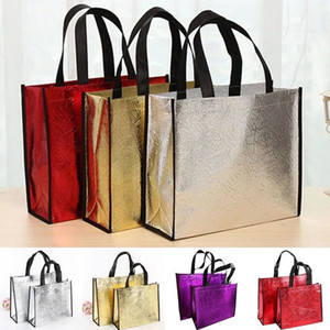 Fashion Laser Shopping Bag Foldable Eco Bag Large Reusable Shopping Bags Tote Waterproof Fabric Non-woven Bag No Zipper Hot Sale