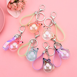 Wholesale Colourful Acrylic Crystal Bubble Jelly Mouse Keychain Colourful Laser Leather Rope Accessories keyring in