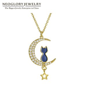 Wholesale Czech Rhinestone Enamel Animal Design Cute Kate Fashion Moon Star Long Pendants Necklaces For Women Charm Jewelry