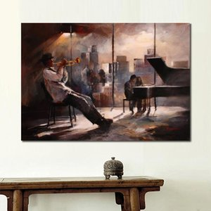 Wholesale painting landscape art image resale online - Wall art Oil paintings Music and skyline Willem Haenraets modern abstract art city landscapes canvas image for wall decor hand painted