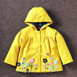 Wholesale fabric for baby clothing for sale - Group buy Sleeve Autumn Baby Raincoat Girl Outerwear Printing Hooded Waterproof Children Jackets Long Jacket Coat For Girls Clothing Pvtvv
